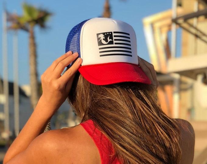Mermaid Flag Red White Blue Foam Trucker Hat.