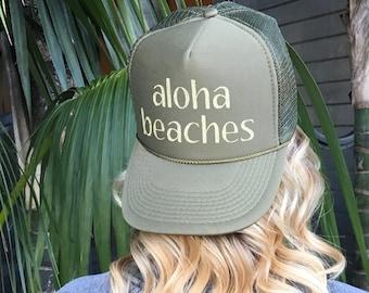 Aloha Beaches Trucker Hat, Olive Green Ball Cap, Hawaii Hats