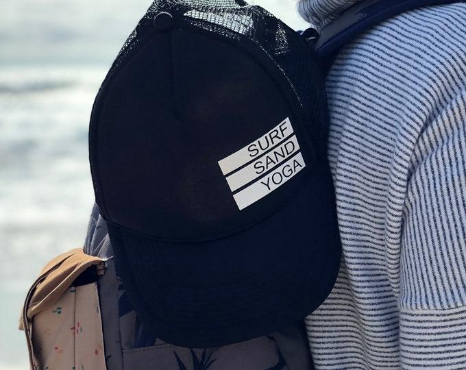 Surf Sand Yoga Trucker Hat, Women's Trucker Hat, Yoga Hat, Snapback For Women, Surfing Hat,