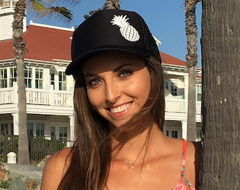 Black Trucker Hat With White Pineapple, Women's Trucker Hat For Hawaii, Aloha Family Trucker Hats