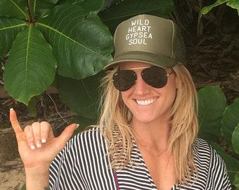 Wild Heart Gypsea Soul Olive Green Foam Trucker Hat, Olive Green Boho Hats, Wanderlust Trucker Hats, Gypsy Trucker Hats, Mountain Girl Hats