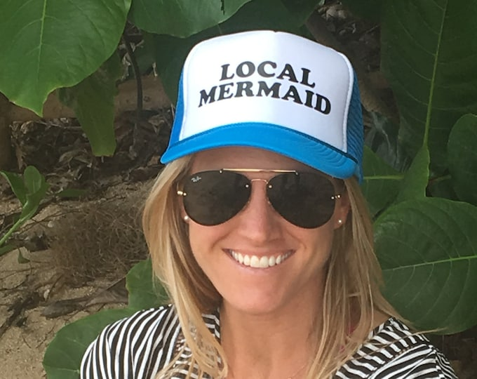 Local Mermaid Sky Blue and White Foam Trucker Hat.