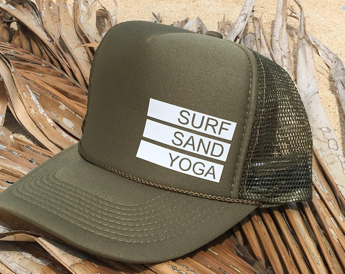 Surf Sand Yoga Olive Green Foam Trucker Hat