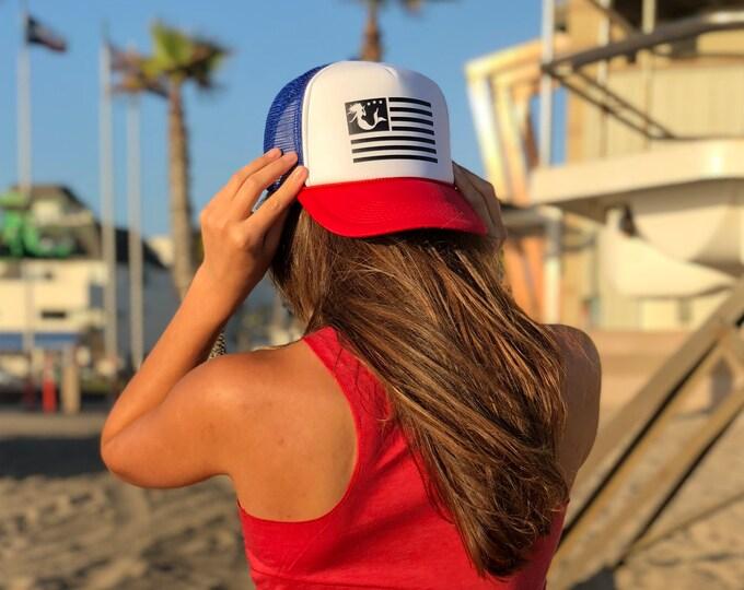 Mermaid Flag Red White Blue Trucker Hat, American Girl Trucker Hat, American Flag Red White And Blue Trucker Hat, Womens USA Trucker Hat