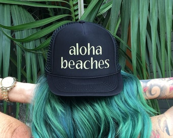 Aloha Beaches Black Trucker Hat, Hawaii Aloha Trucker Hat, Women's Trucker Hat