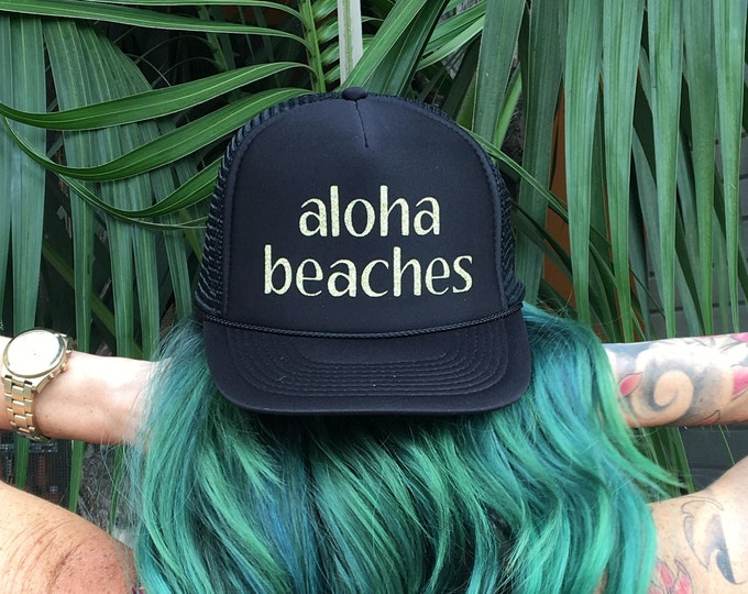 Aloha Beaches Black Foam Trucker Hat