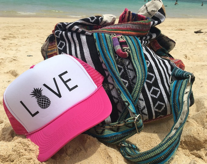 Love Neon Pink And White Foam Trucker Hat With Pineapple