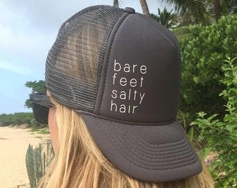 Bare Feet Salty Hair Charcoal Gray Trucker Hat, Beach Hats For Hawaii, Surf Trucker Hat, Island Girl Trucker Hat, Good Vibes Teucker Hat