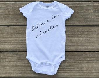 Believe In Miracles White Baby Bodysuit, Unisex Infant Bodysuit, Handmade Baby Romper, Organic Infant Bodysuit