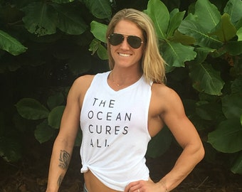 The Ocean Cures All Women's White Muscle Tank