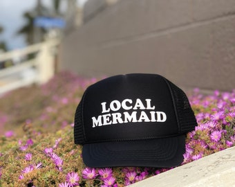 Childrens Local Mermaid Black Foam Trucker Hat, Summer Beach Hats For Kids, Hawaii Trucker Hats For Kids, Mermaid Trucker Hat For Children