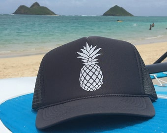 Pineapple Charcoal Gray Foam Trucker Hat