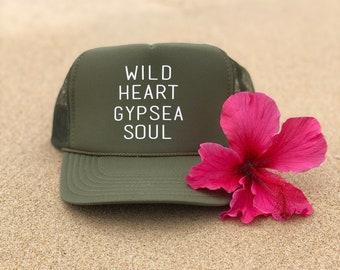 Wild Heart Gypsea Soul Olive Green Foam Trucker Hat For Women.