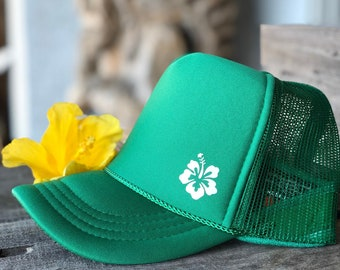 Youth Hibiscus Kelly Green Foam Trucker Hat