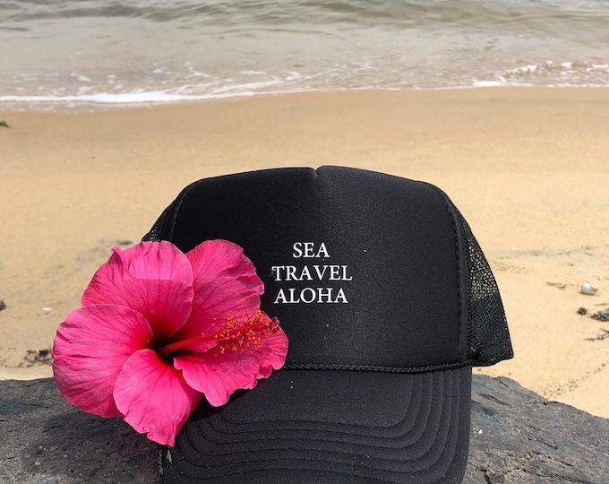 Sea Travel Aloha Black Foam Trucker Hat