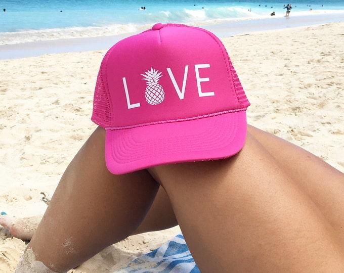 Love With Pineapple Hot Pink Trucker Hat, Pink Hawaii Trucker Hats, Breast Cancer Hats, Women's Salty Trucker Hat