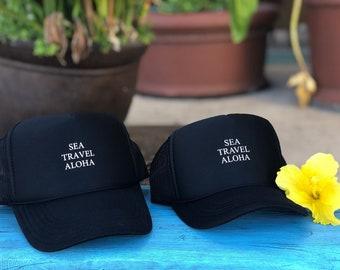 Mama and Me Sea Travel Aloha Black Foam Trucker Hat