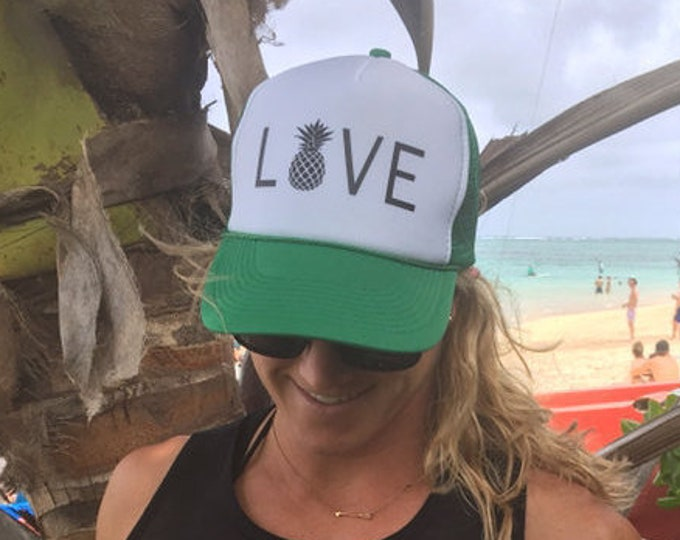 Love With Pineapple Kelly Green And White Foam Trucker Hat, Women's Trucker Hat, Trucker Hats For Hawaii, Summer Trucker Hats