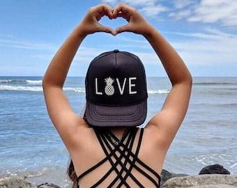 Youth Love With Pineapple Black Foam Trucker Hat