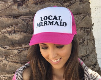 Local Mermaid Pink and White Women's Foam Trucker Hat, Women's Trucker Hat For The Beach