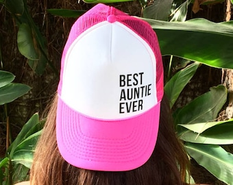 Best Auntie Ever Hot Pink And White Women's Foam Trucker Hat, Women's Trucker Hat For Hawaii, Ohana Trucker Hats