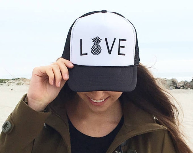 Love Black And White Foam Trucker Hat With Pineapple.