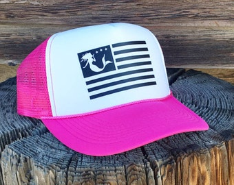 Neon Pink Mermaid Trucker Hat, Women's Trucker Hat, American Flag Trucker Hat For Women