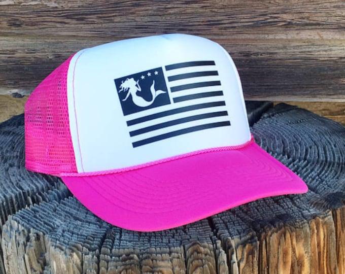 Mermaid Flag Neon Pink Foam Trucker Hat For Women