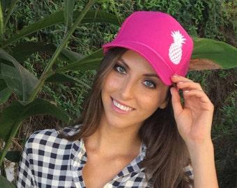 Hot Pink Pineapple Trucker Hat, Women's Trucker Hat, Hawaii Trucker Hat, Women's Ball Cap, Pink Trucker Hat, Aloha Trucker Hat