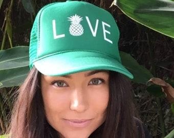 Pineapple Love Kelly Green Trucker Hat, Women's Aloha Trucker Hat, Tropical Vibes Trucker Hat, Hats For Hawaiian Vacations