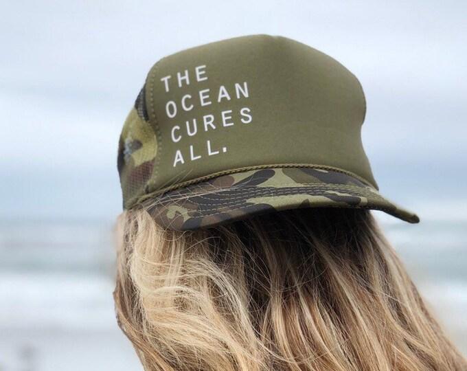The Ocean Cures All Green Camouflage Foam Trucker Hat