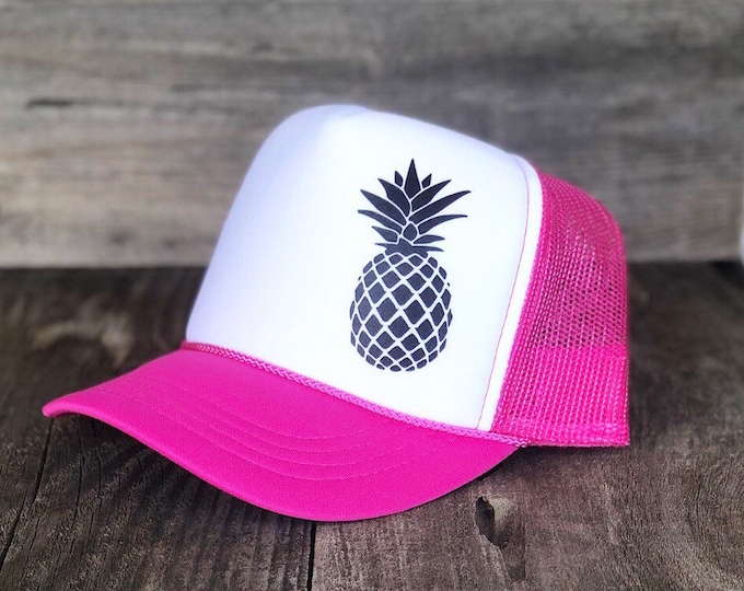 Youth Hot Pink And White Pineapple Foam Trucker Hat