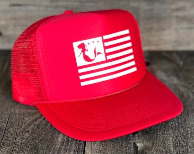 Mermaid American Flag Red Foam Trucker Hat