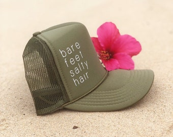 Bare Feet Salty Hair Olive Green Foam Trucker Hat