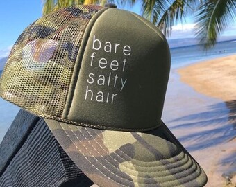 Bare Feet Salty Hair Womens Green Camouflage Foam Trucker Hat