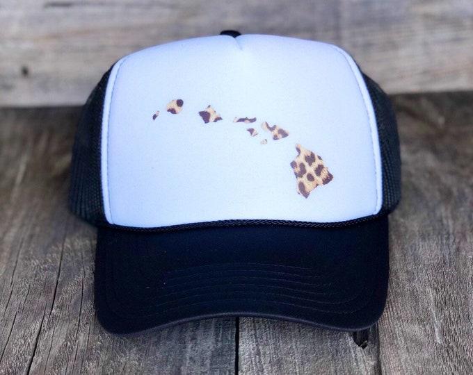 Hawaiian Islands Black And White Foam Trucker Hat With Leopard Print