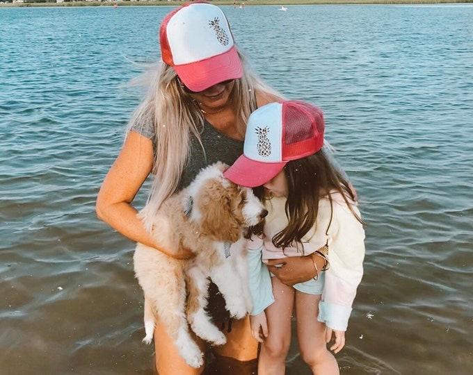 Mama And Me Leopard Print Pineapple Hot Pink Foam Trucker Hat