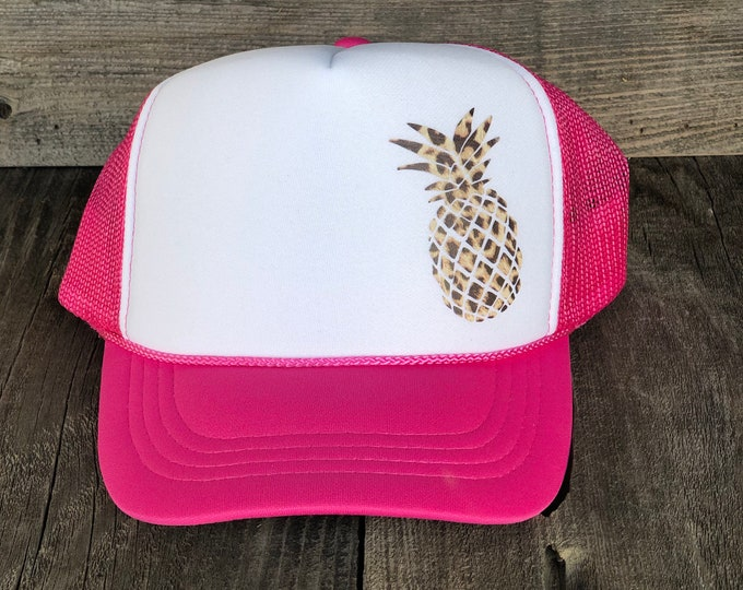 Youth Pineapple Leopard Print Hot Pink And White Foam Trucker Hat