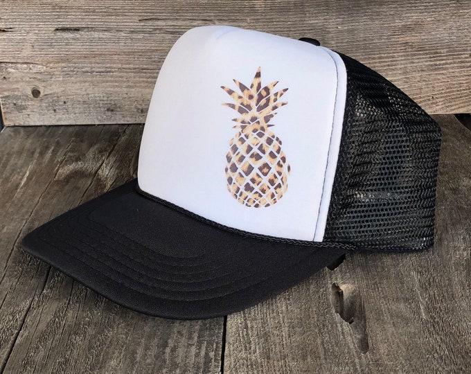 Pineapple Leopard Print Black And White Foam Trucker Hat