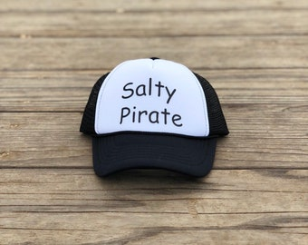 Infant black and white trucker hat with black font, Baby salty pirate trucker hat, Pirate hats for toddlers