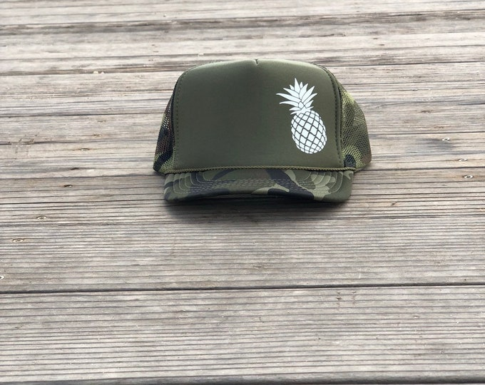 Pineapple camouflage foam trucker hat, Mens pineapple trucker hat, Womens pineapple trucker hat, Trucker hats for Hawaii