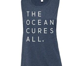 The Ocean Cures All Medium Heather Navy Womens Feminine Muscle Tank