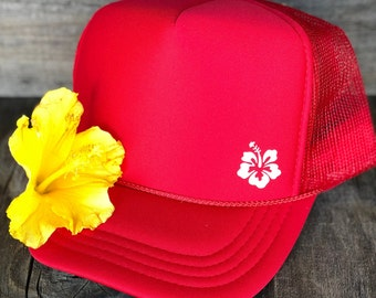 Youth Hibiscus Red Foam Trucker Hat