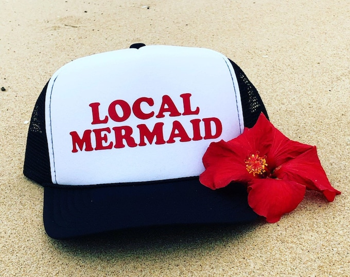 Local Mermaid Black and White Foam Trucker Hat