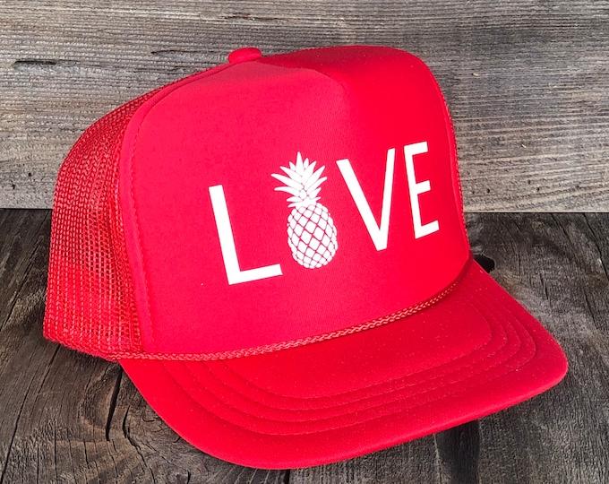 Youth Pineapple Love Red Foam Trucker Hat