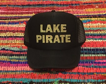 Lake Pirate Black Foam Trucker Hat With Gold Glitter Font, Neon Pink Lake Pirate Trucker Hat With Black Glitter Font, Women's Trucker Hats