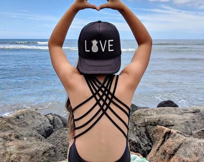 Love With Pineapple Black Youth Foam Trucker Hat