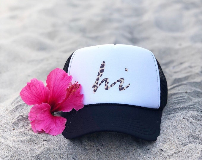 Hawaii Black And White Foam Trucker Hat With Leopard Print