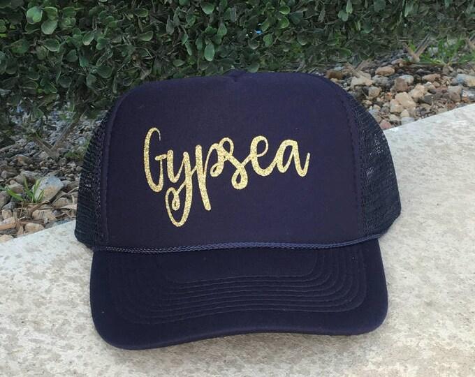 Gypsea Navy Blue Trucker Hat With Gold/Glitter Font, Women's Ocean Trucker Hat, Hats For Hawaii, Women's Cruise Ship Trucker Hat, Gypsy Hat