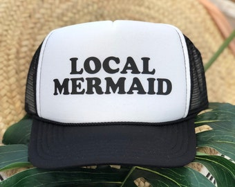 Local Mermaid Black and White Foam Trucker Hat
